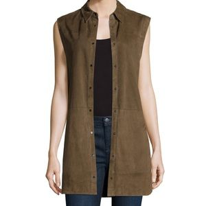 VINCE SUEDE SLEEVELESS SNAP TUNIC! SIZE 10